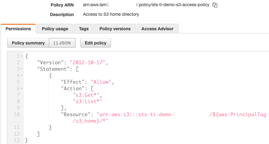Figure 2: Create the IAM policy for Amazon S3 (sts-ti-demo-s3-access-policy)