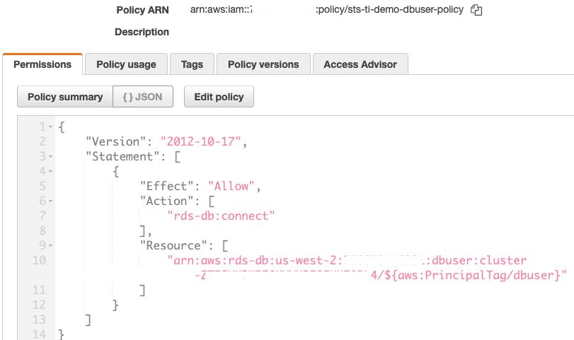 Figure 3: Create the IAM policy for Aurora PostgreSQL database (sts-ti-demo-dbuser-policy)