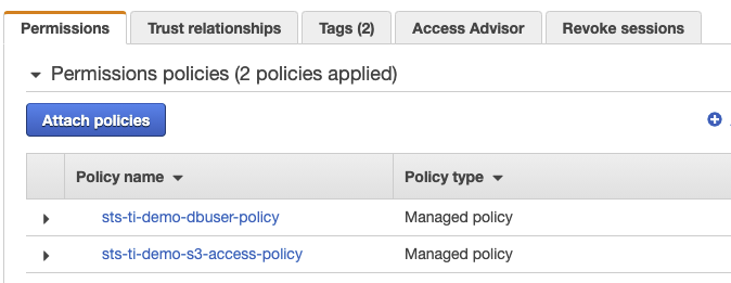 Figure 4: The assumeRole-tenant1 Permissions tab