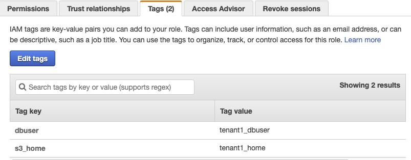 Figure 6: The assumeRole-tenant1 Tags tab
