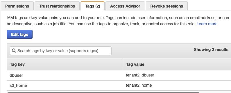 Figure 7: The assumeRole-tenant2 Tags tab