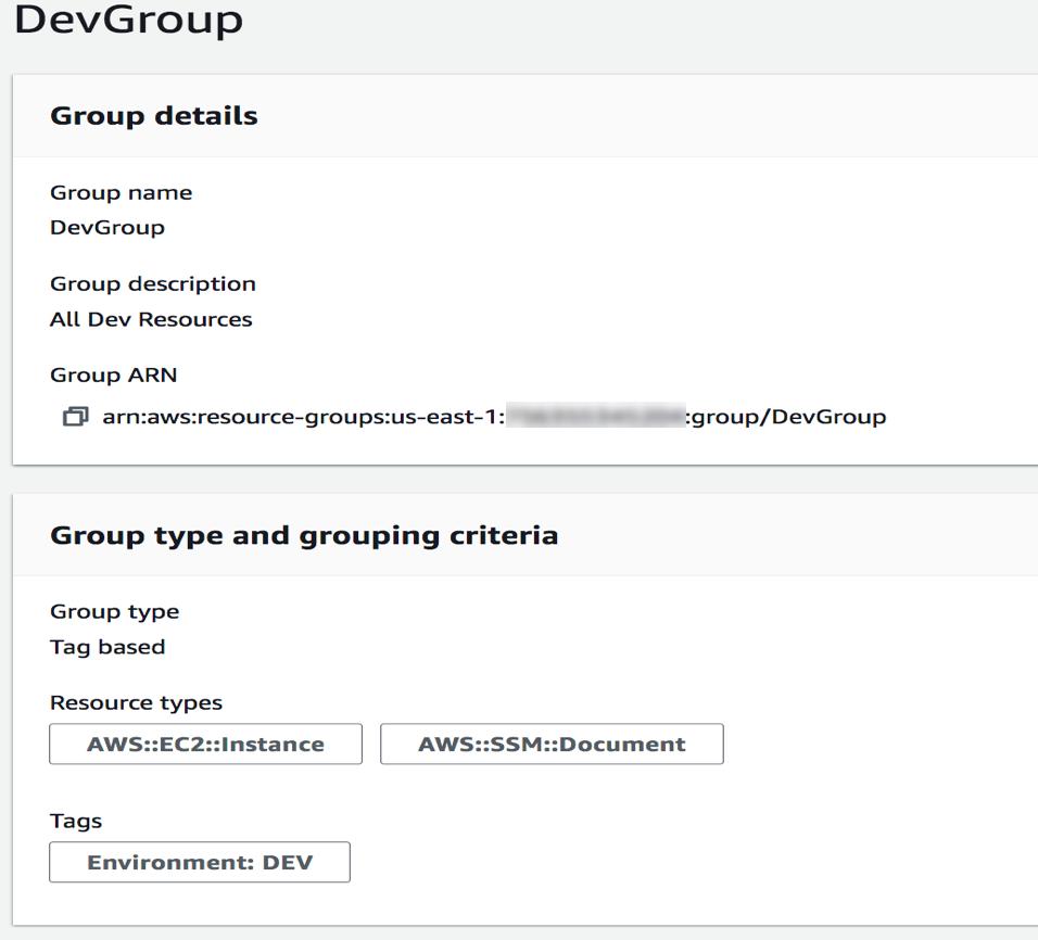 Figure 3: Sample resource group creation