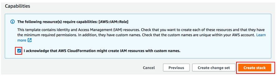 Figure 5: CloudFormation capabilities acknowledgement
