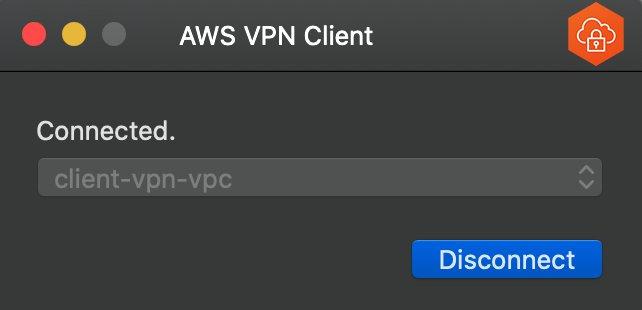 Figure 7: AWS Client VPN desktop application - established VPN connection