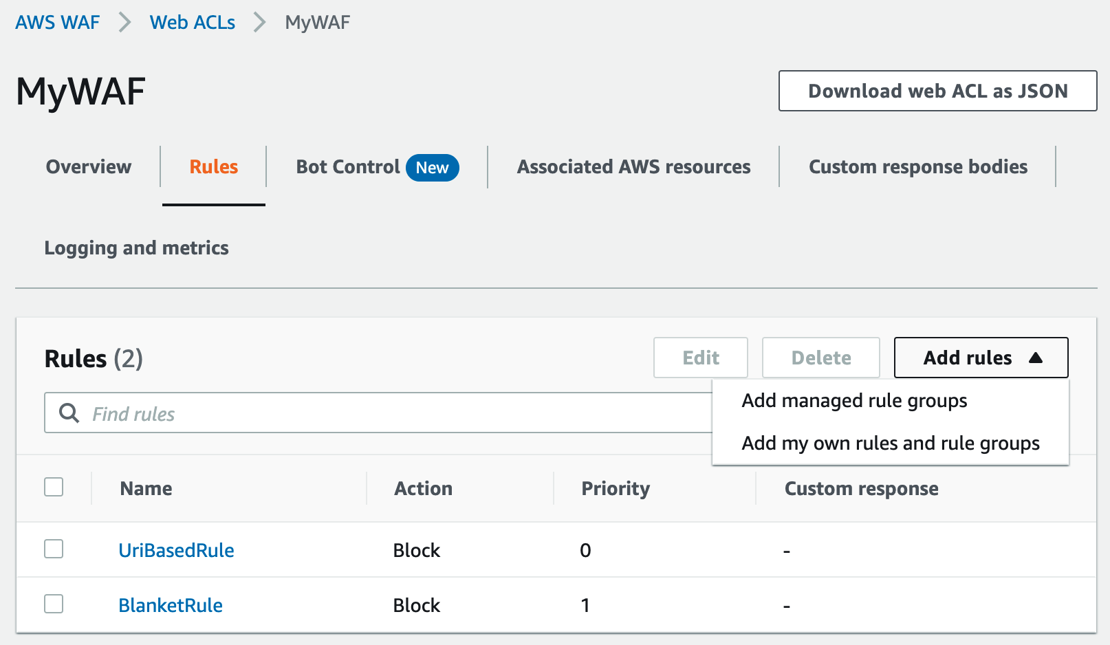 Figure 8: The managed rule group view in AWS WAF