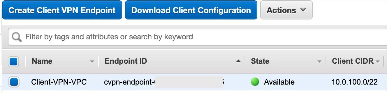 Figure 5: Client VPN endpoint