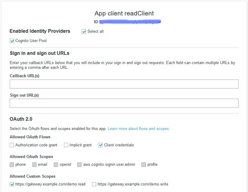 Figure 3: App client configuration