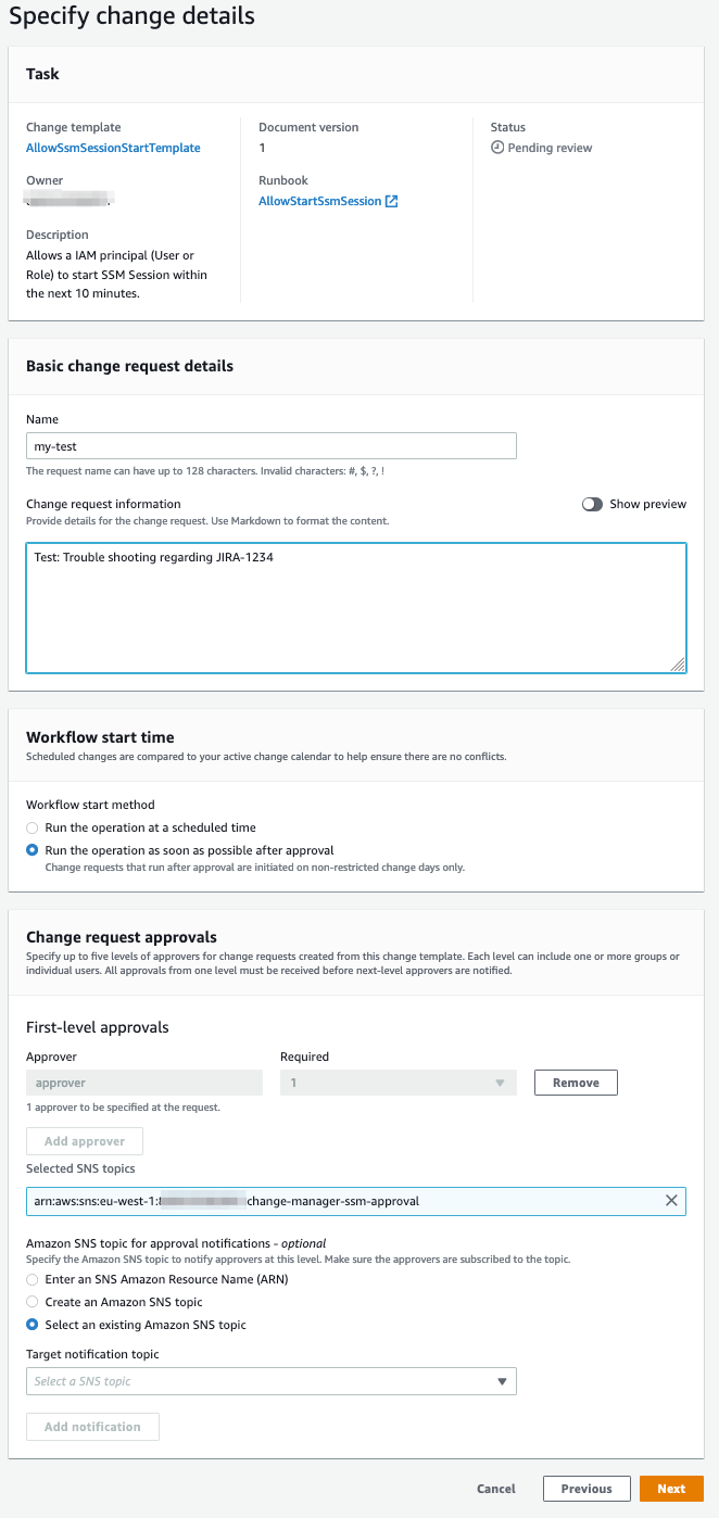 Figure 4: Creating a change request