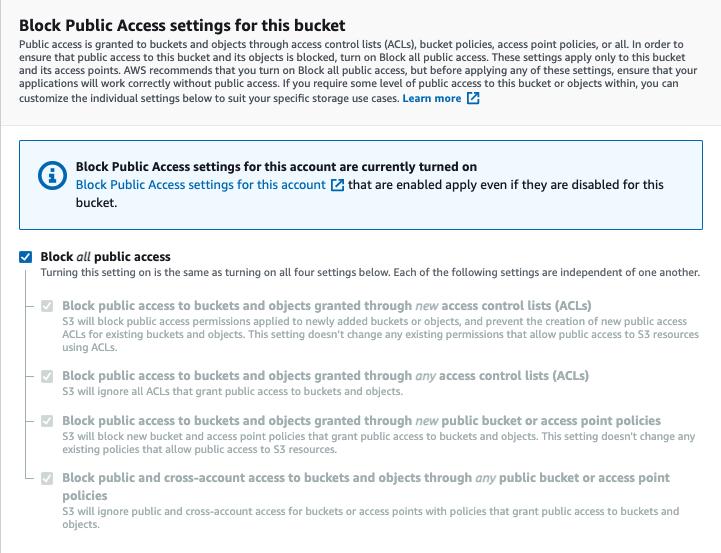 Figure 3: S3 block public access bucket settings