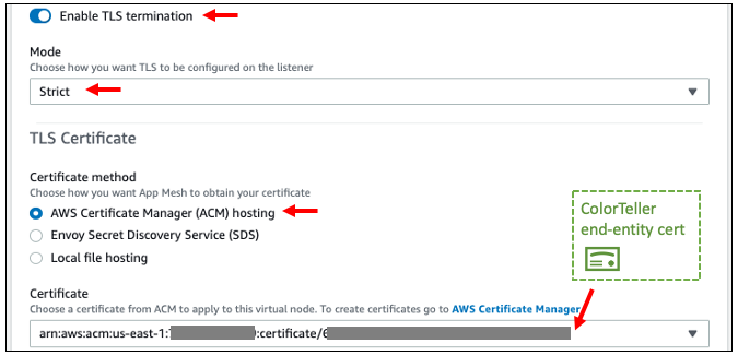 Figure 4: One-way TLS configuration in the listener configuration of ColorTeller