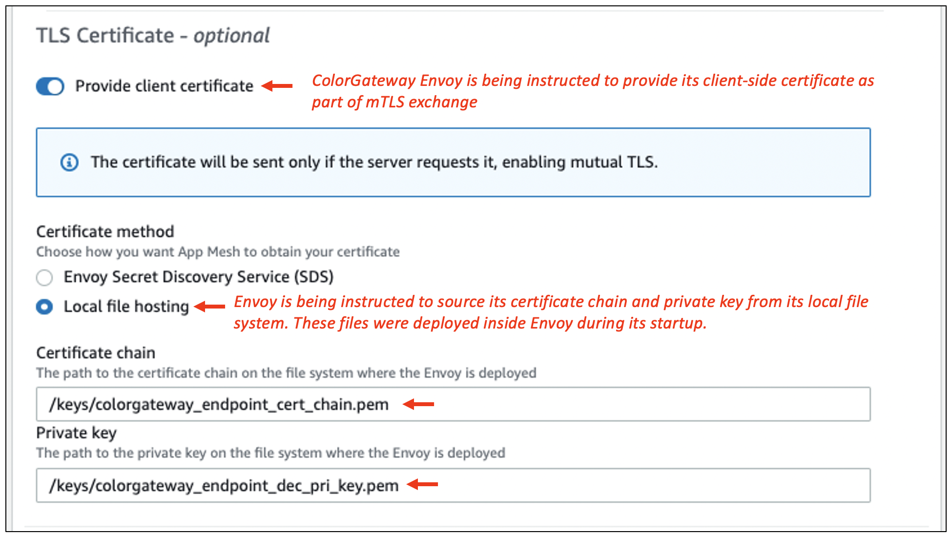 Figure 6: Client-side mTLS configuration in ColorGateway