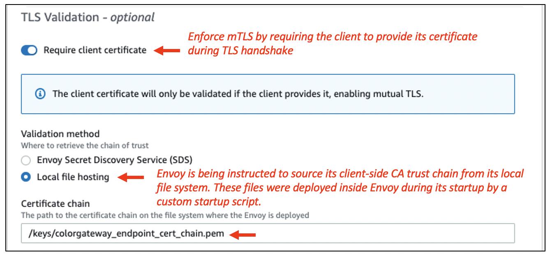Figure 7: Server-side mTLS configuration in ColorTeller