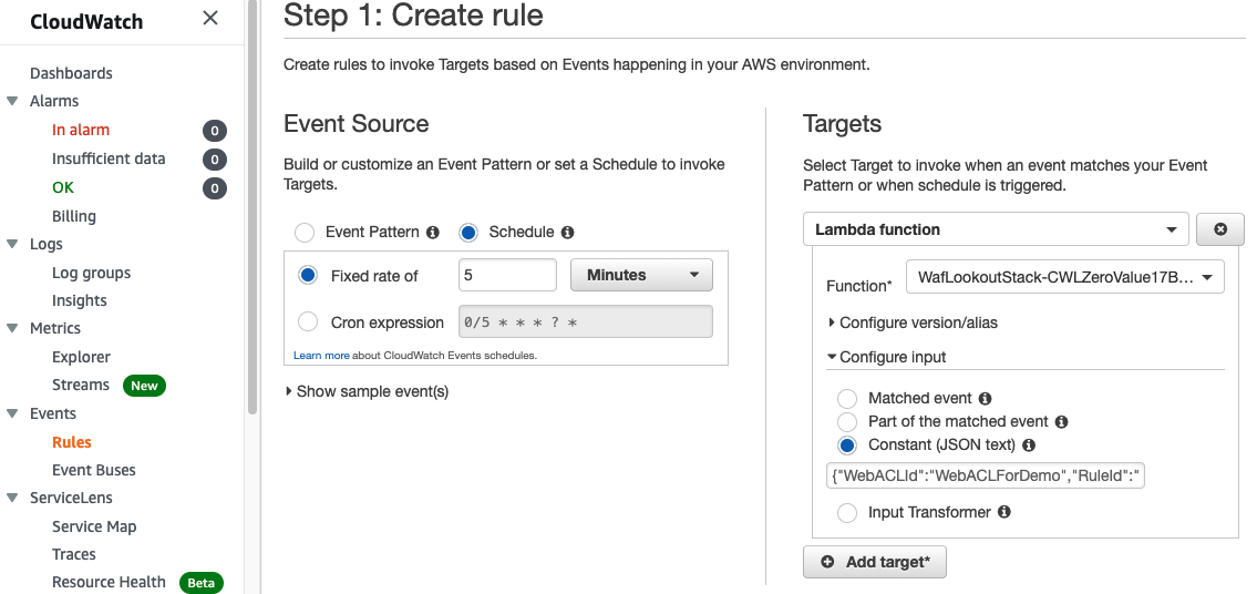 Figure 10: Creating a CloudWatch Events rule scheduled every 5 minutes