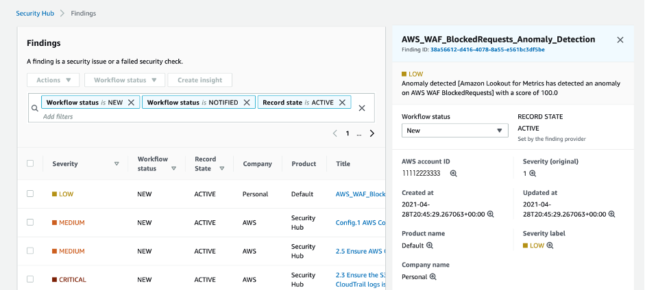 Figure 11: AWS Security Hub findings