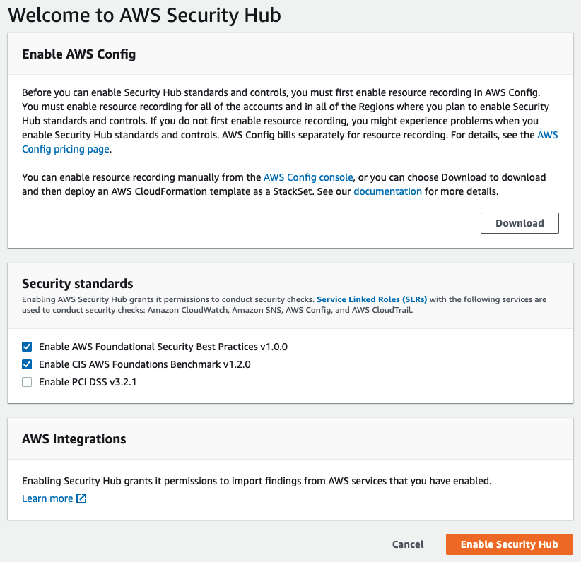 Figure 2: Manually enabling Security Hub in the AWS Management Console