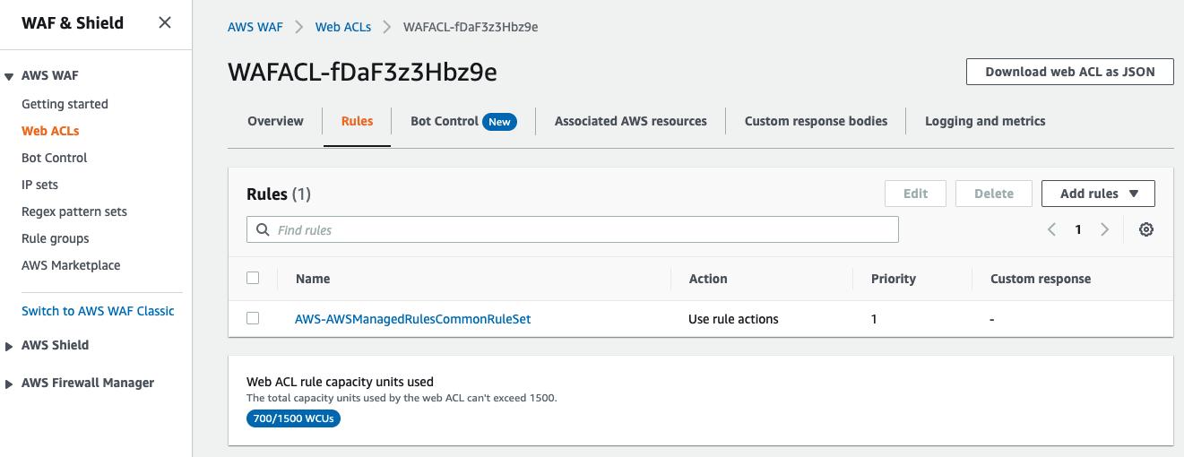 Figure 4: Adding AWSManagedRulesCommonRuleSet to the AWS WAF web ACL