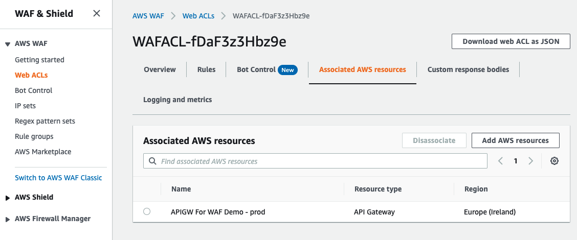 Figure 5: Associating the web ACL with the API