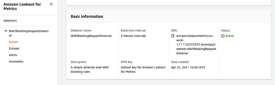 Figure 6: Creating an Amazon Lookout for Metrics detector