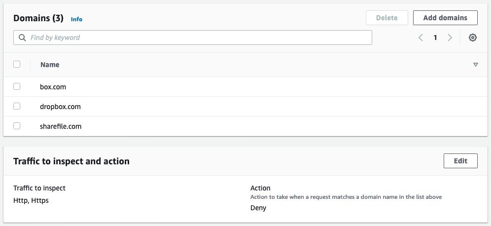 Figure 5: A domain list rule to block box.com, dropbox.com, and sharefile.com