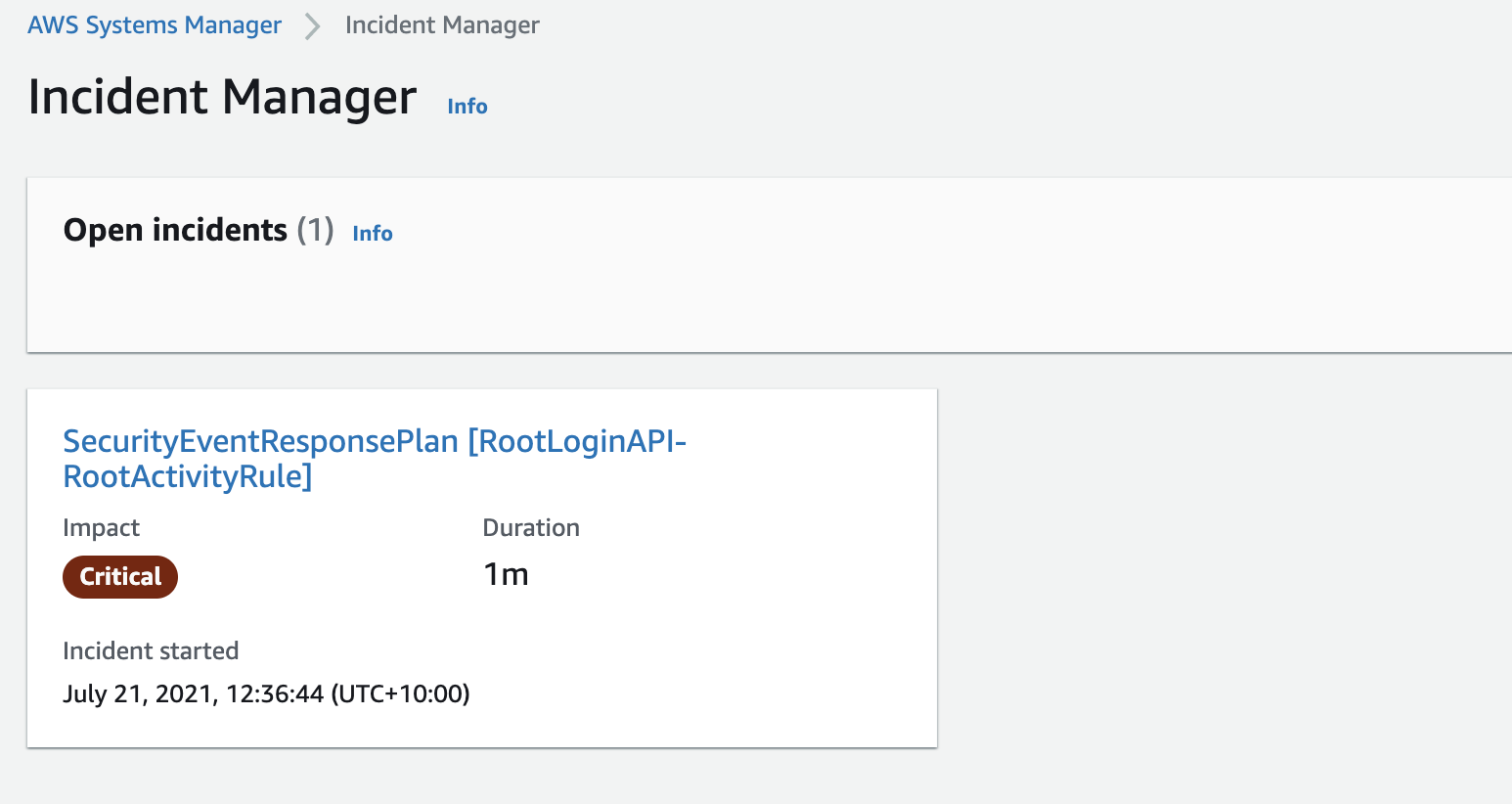Figure 5: Incident Manager open incidents