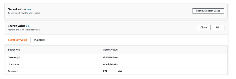 Figure 3: Checking the secret value in the Secrets Manager console