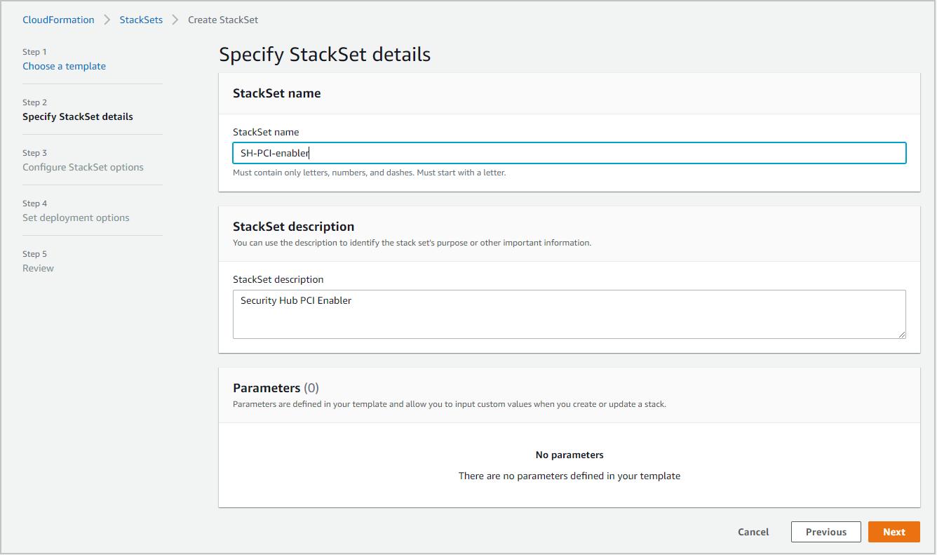 Figure 4: CloudFormation – enter StackSet details
