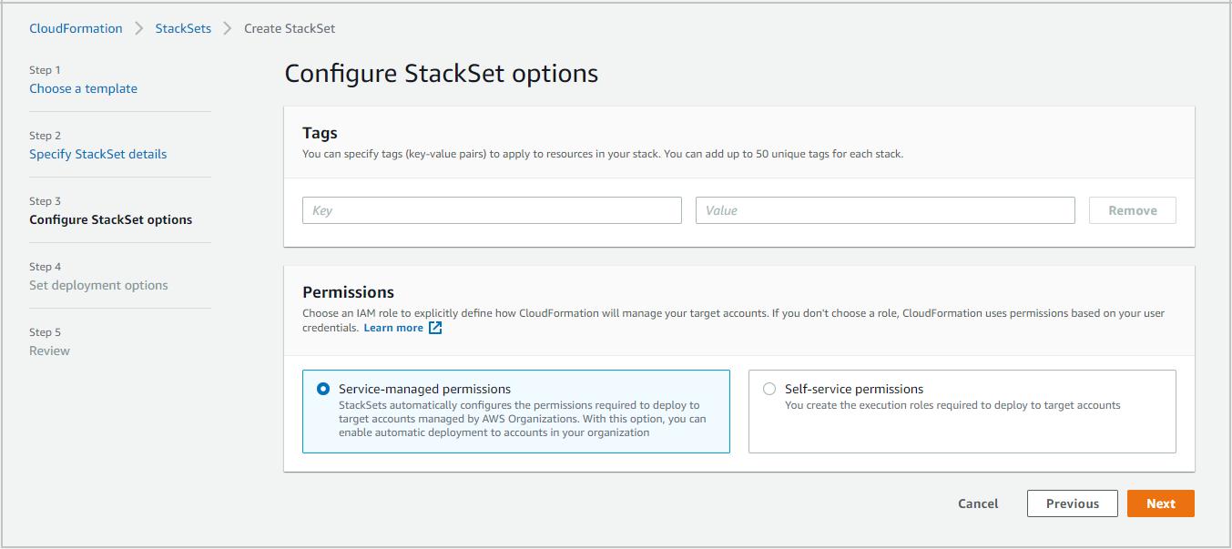 Figure 5: CloudFormation – Configure StackSet options