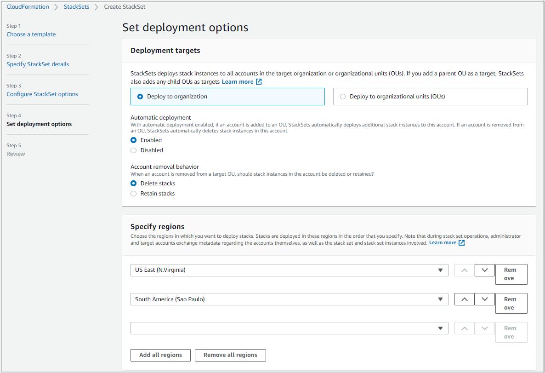 Figure 6: CloudFormation – Set deployment options