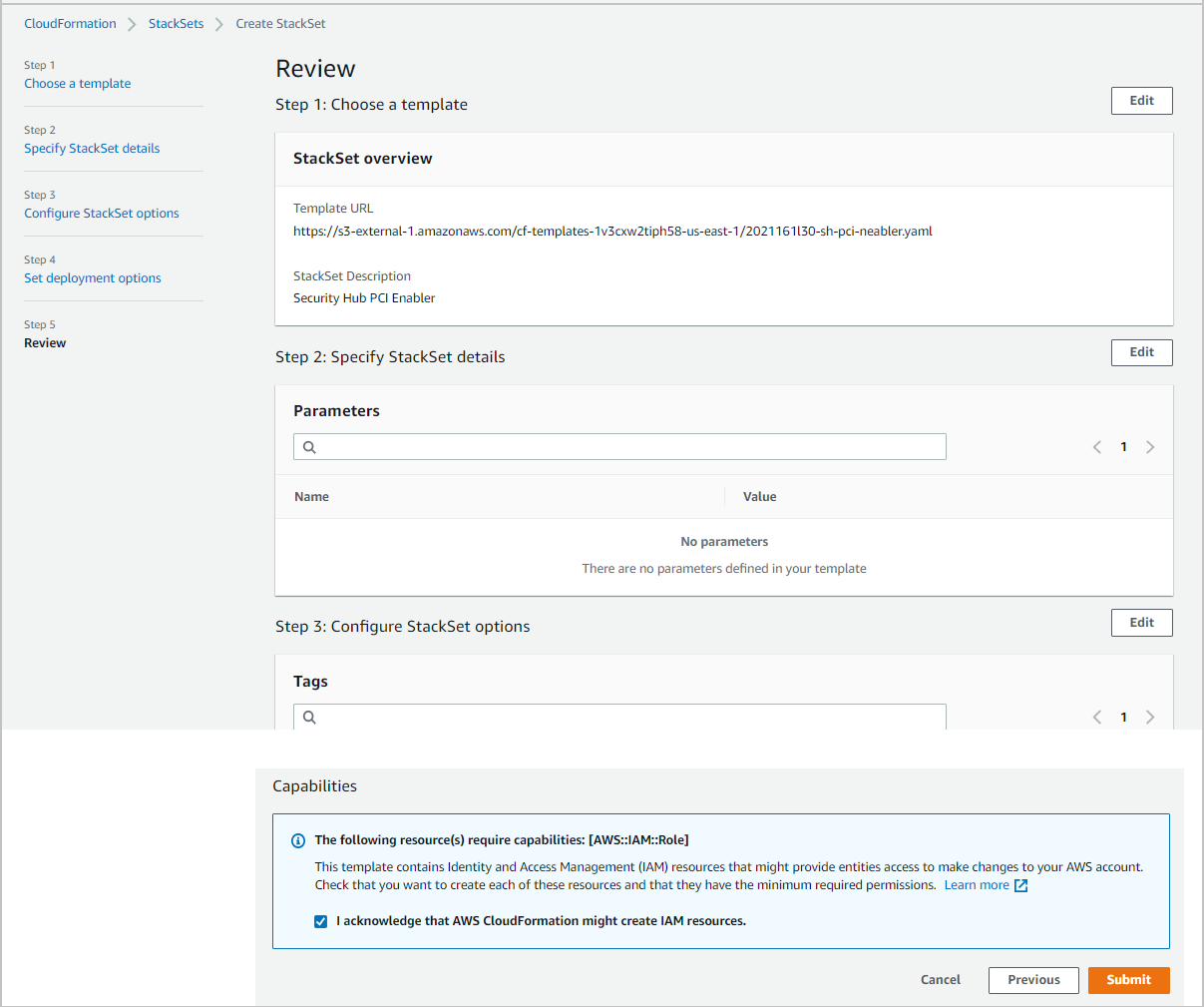 Figure 7: CloudFormation – Review, acknowledge, and submit