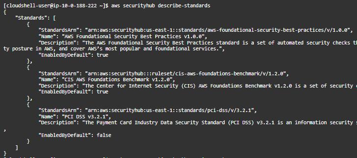 Figure 9: Describe Security Hub standards using CLI
