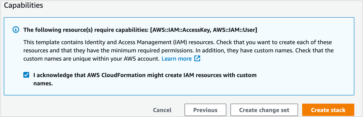 Figure 2: Acknowledge creation of IAM resources