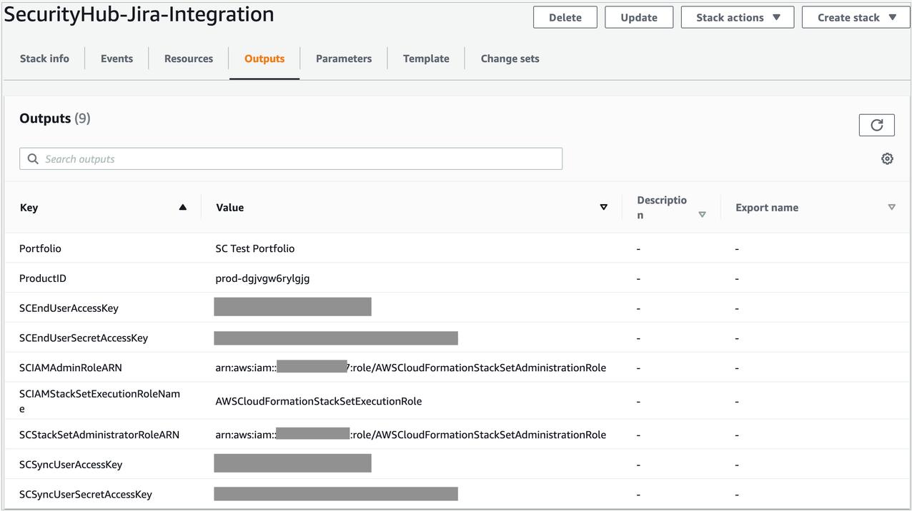 Figure 7: CloudFormation Outputs details