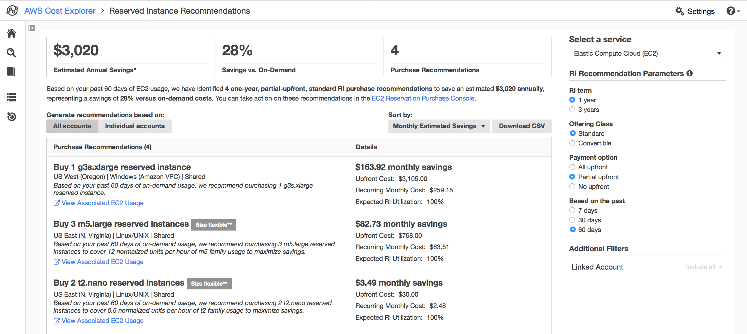 Screenshot of AWS Cost Explorer's Reservation Purchase Recommendations page