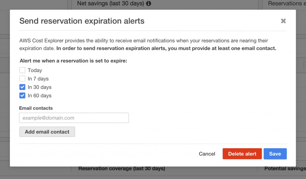 Manage Reservation Expiration Alerts