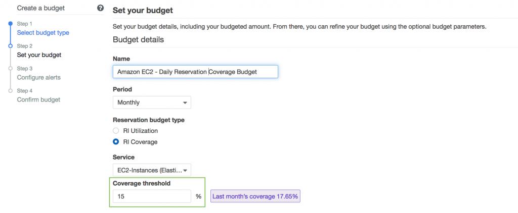 Set Reservation Coverage Budget