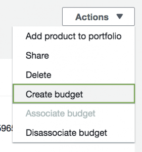 AWS Service Catalog Actions Menu