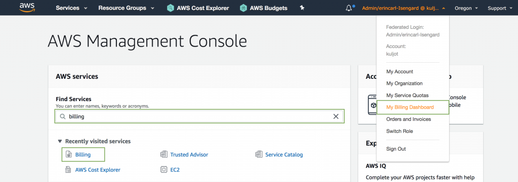 Acces the AWS Billing Console