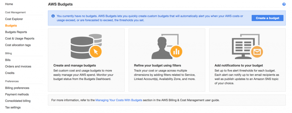 Get Started with AWS Budgets