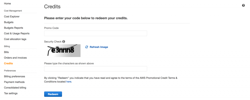 Add your AWS Credits