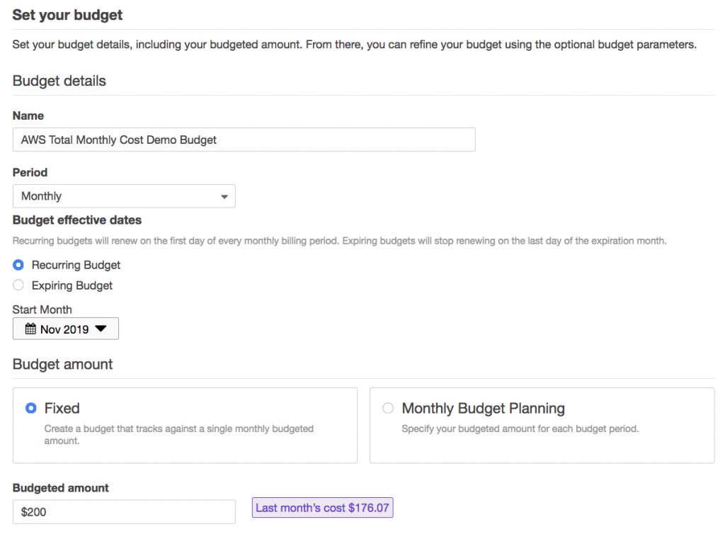 Create AWS Budget