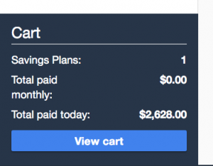 Savings Plans Shopping Cart Experience