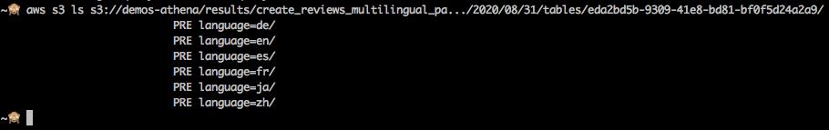 Captura de pantalla mostrando una llamada del AWS CLI mostrando el contenido del bucker, y mostrando las subcarpetas creadas para cada una de las particiones