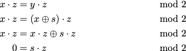 Series of equation manipulations showing the condition that s dot z = 0 mod 2