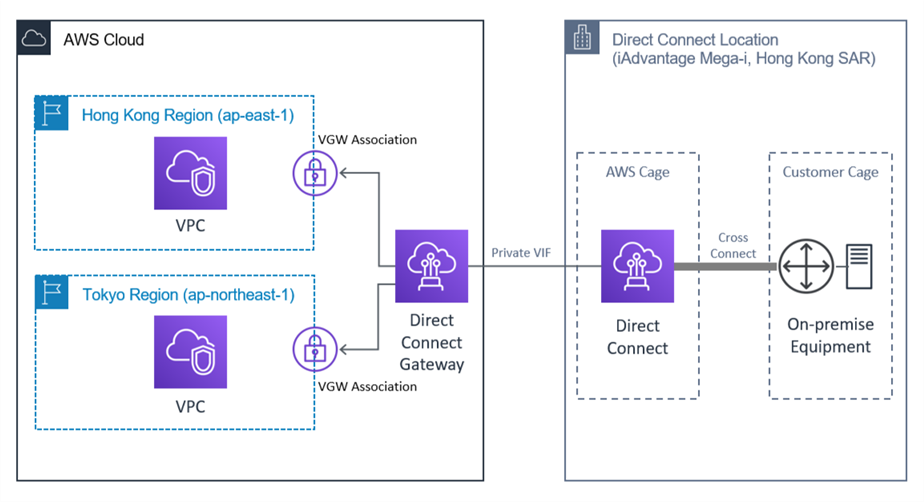 Network Architecture that shows Direct Connect Gateway attached to private virtual interface, and associated to virtual private gateway in two region.