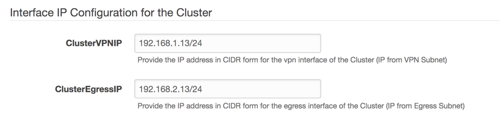 Example values for the Fortigate cluster settings in CloudFormation prompt. Parameters include ClusterVPNIP and ClusterEgressIP