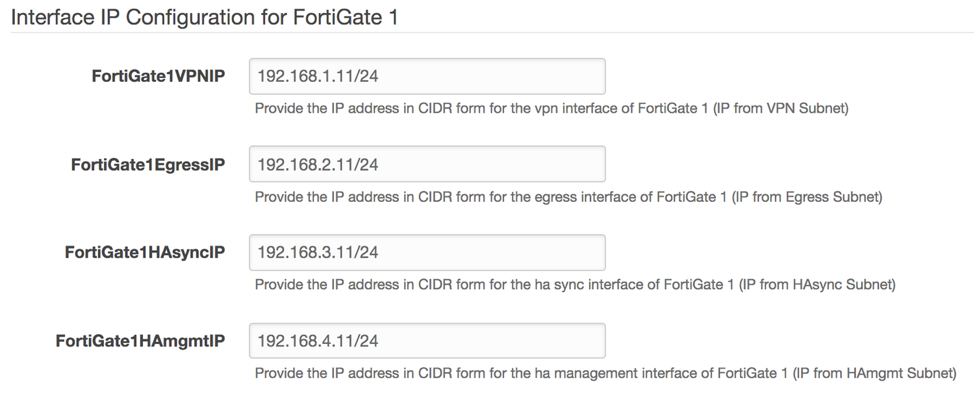 Example values for the active Fortigate settings in CloudFormation prompt. Parameters include Fortigate1 VPNIP, EgressIP, HAsyncIP, HAMgmtIP