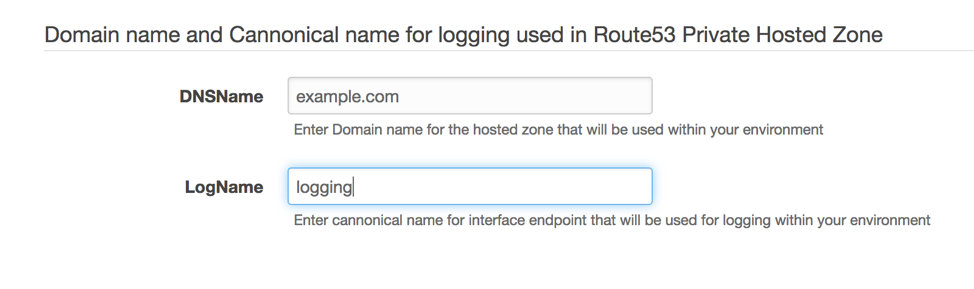DNS entry for logging used in Route53 private hosted zone