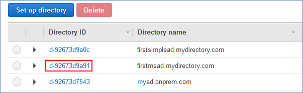 screenshot of AWS directory services management console with a list of directory ids and directory names