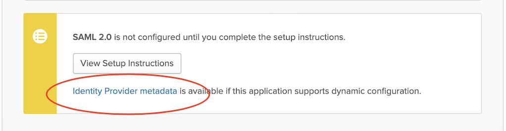 Okta console UI with link to identity provider metadata circled