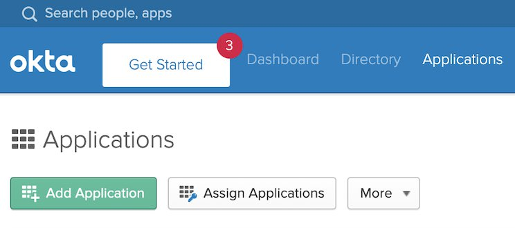 UI of Okta console with Get Started button highlighted